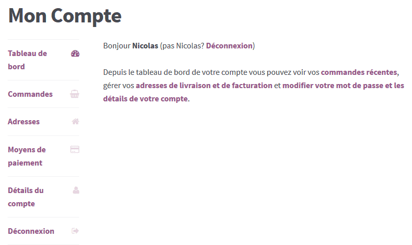 Onglets Mon compte